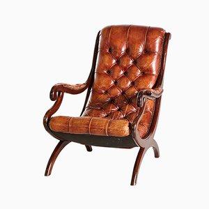Sillón Chesterfield de cuero marrón, años 70