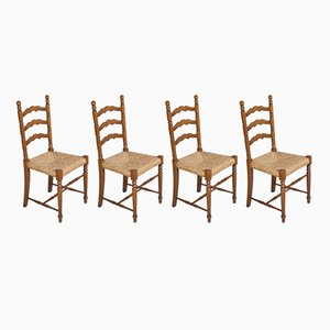 Mid-Century Turned Walnut Chiavari Chairs with Straw Seats, Set of 4