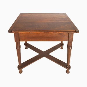 Antique Tyrolean Solid Oak Country Folding Table