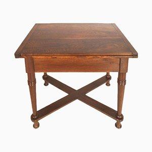 Tavolo tirolese antico pieghevole in legno di quercia massiccio