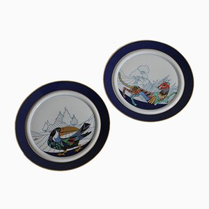Panther & Toucan Porcelain Plates by Brigitte Doege for Rosenthal, 1980s, Set of 2