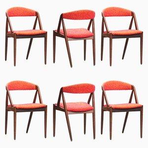 Sedie da pranzo nr. 31 Mid-Century moderne in palissandro di Kai Kristiansen per Schou Andersen, set di 6