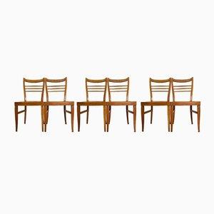 Sedie da pranzo vintage marrone in legno, anni '60, set di 6