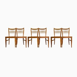 Vintage Brown Wooden Dining Chairs, 1960s, Set of 6