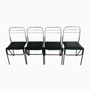 Vintage Black Skai & Metal Chairs, 1970s, Set of 4