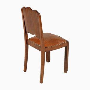Französischer Stuhl mit Gestell aus geschnitztem Mahagoni & Sitz aus Kunstleder im Jugendstil, 1920er
