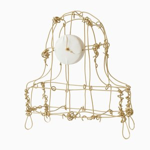 Floating Frame Blasted Brass Mantel Clock by Kiki Van Eijk & Joost Van Bleiswijk