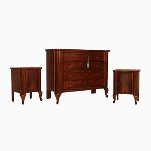 Art Deco Set aus Kommode aus Nuss- & Wurzelholz & Nachttischen von Gaetano Borsani