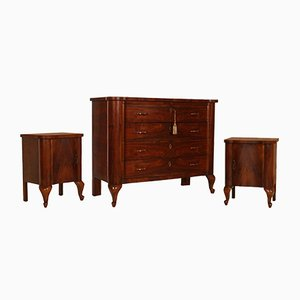 Art Deco Set with Walnut & Burl Dresser & Nightstands by Gaetano Borsani