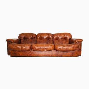 Sofá de tres plazas vintage de cuero marrón, años 70
