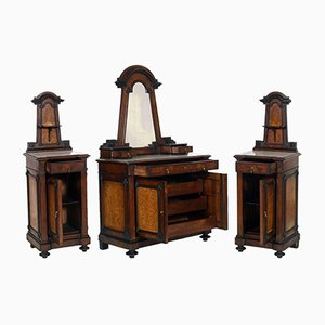 Art Nouveau Italian Set with Walnut Dresser & Nightstands
