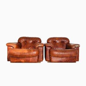 Sillas vintage de cuero marrón, años 70. Juego de 2