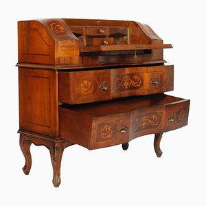 Secretaire vintage intarsiato in legno di noce, anni '20