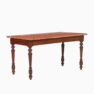 Table Basse Renaissance Antique avec Plateau en Marbre de Vérone par Ebanisteria Bovolone