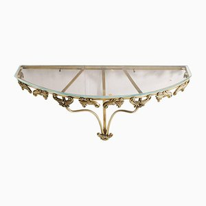 Baroque Style Gilt Bronze & Crystal Console Table, 1950s