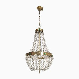 Antique Biedermeier Style Basket Chandelier