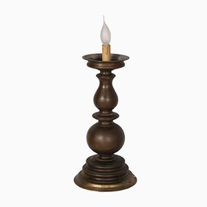 17th-Century Baroque Bronze Candlestick Table Lamp