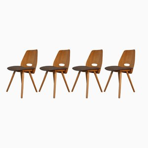 Beech Veneer & Fabric Chairs by Frantisek Jiràk for Novy Domov, 1960s, Set of 4