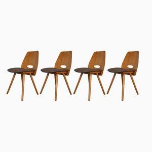 Chaises en Hêtre Plaqué et Tissu par Frantisek Jiràk pour Novy Domov, 1960s, Set de 4