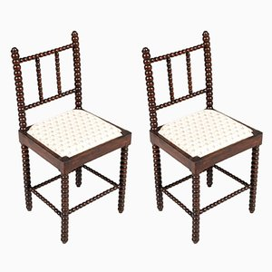 18th Century Florentine Turned Walnut Chairs, Set of 2
