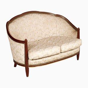 2-Sitzer Sofa aus geschnitztem & vergoldetem Mahagoni im Jugendstil