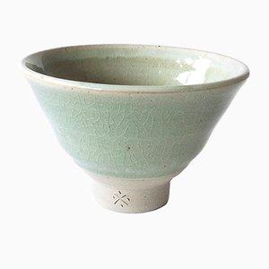 Tazza da tè in gres bianco con smalto Celadon di Marcello Dolcini, 2019