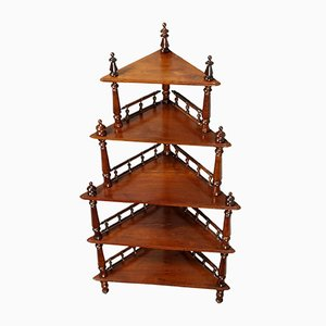 18th-Century Walnut Shelf with Turned Uprights