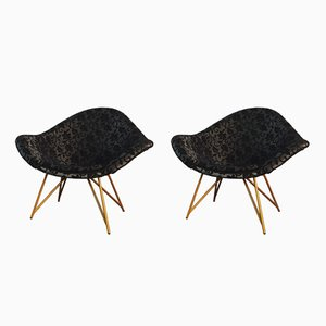 Mid-Century Black Lounge Chairs, 1960s, Set of 2