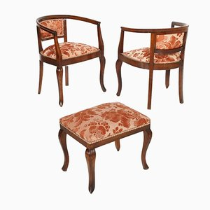 Art Nouveau Italian Carved Walnut Armchairs & Stool Set, 1900s