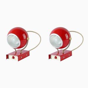 Rote Mid-Century Wandlampen, 1960er, 2er Set