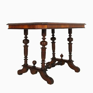 Antique Neoclassical Walnut & Burl Walnut Coffee Table