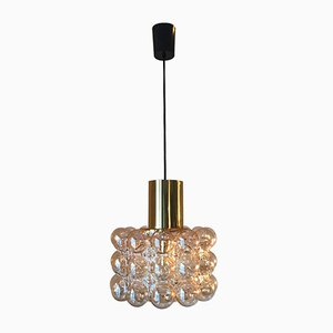 Vintage Brass & Bubble Glass Ceiling Lamp by Helena Tynell for Limburg, 1960s