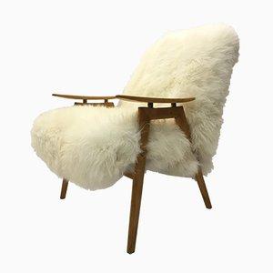 Sillón vintage de madera curvada y piel de oveja blanca de TON, años 60