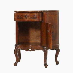 Comodino in stile barocco antico veneziano in legno di radica intagliato