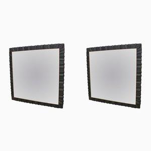 Espejos de pared alemanes cuadrados de cuero de Vereinigte Werkstätten München, años 50. Juego de 2
