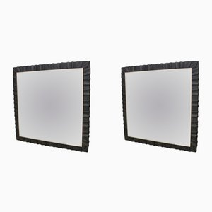 Square German Leather Wall Mirrors from Vereinigte Werkstätten München, 1950s, Set of 2