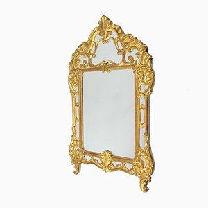 Specchio vintage rivestito in foglia d'oro