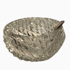 Aschenbecher aus Kristallglas mit silberner Ablage von HB, 1950er