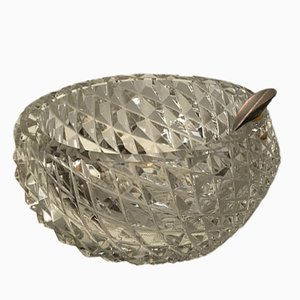 Crystal Ashtray with Silver Rest from HB, 1950s