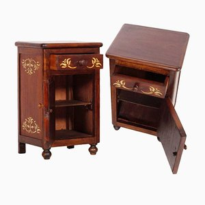 Antique Art Nouveau Walnut & Mahogany Bedside Tables, Set of 2
