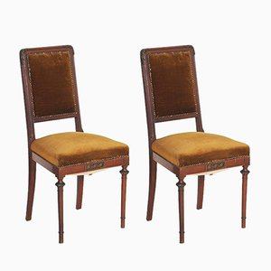 19th Century Art Nouveau Walnut & Velvet Side Chairs, Set of 2