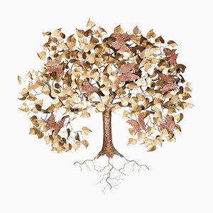 Mid-Century Sardinian Brass & Enameled Copper Decorative Handicrafts Tree, 1980s