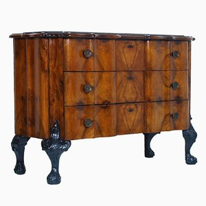 Antique Burl Walnut Commode with Marble Top, 1900s