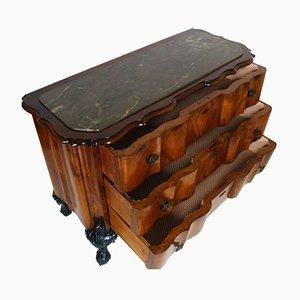 Comò antico in radica di noce con ripiano in marmo, inizio XIX secolo