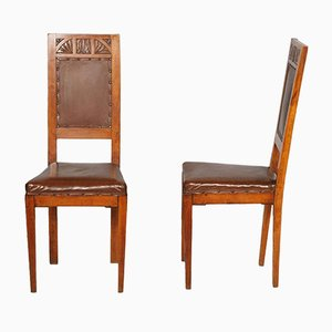 Art Nouveau Cherry Wood Chairs, Set of 2