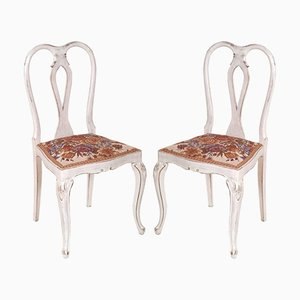 Gustavian Chippendale Lacquered Walnut Chairs, 1940s, Set of 2