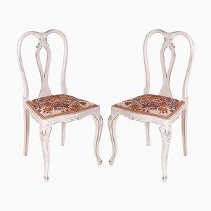 Gustavianische Chippendale Stühle aus lackiertem Nussholz, 1940er