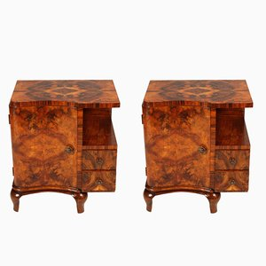 Art Deco Walnut and Burl Walnut Nightstands from Mobili Cantù, 1920s , Set of 2