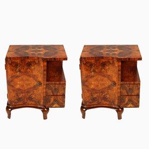 Tables de Chevet Art Deco en Noyer et en Noyer de Broussin de Mobili Cantù, 1920s, Set de 2