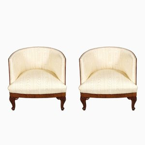 Antique Belle Époque Venetian Lounge Chairs from Testolini & Salviati, Set of 2